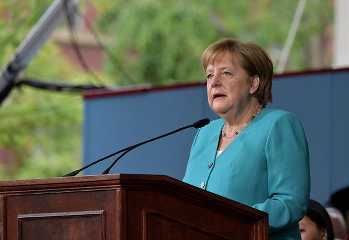 Merkel mun láta af störfum sem kanslari þegar kjörtímabilinu lýkur.