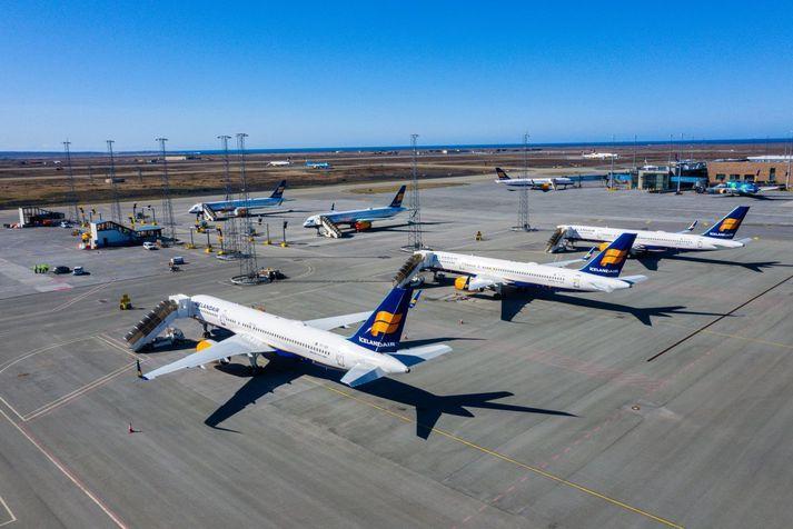 Flugáætlun Icelandair var skorin verulega niður í ljósi áhrifa kórónuveirufaraldursins.