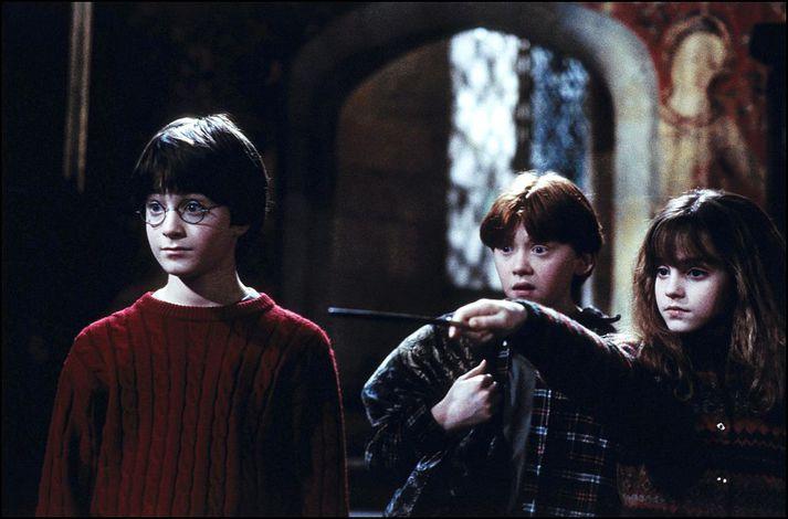 Áhorfendur fylgdust með þeim Daniel Radcliffe, Rupert Grint og Emmu Watson vaxa úr grasi á hvíta tjaldinu í hlutverkum sínum sem Harry Potter, Ron Weasley og Hermione Granger.