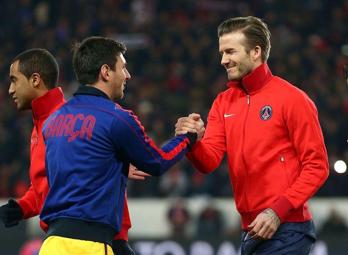 Beckham og Messi fyrir leik PSG og Barcelona í Meistaradeildinni 2013.