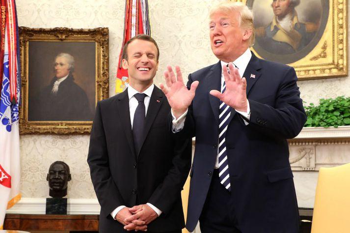 Tilraunir Macron til að tala um fyrir Trump um kjarnorkusamninginn báru engan árangur.