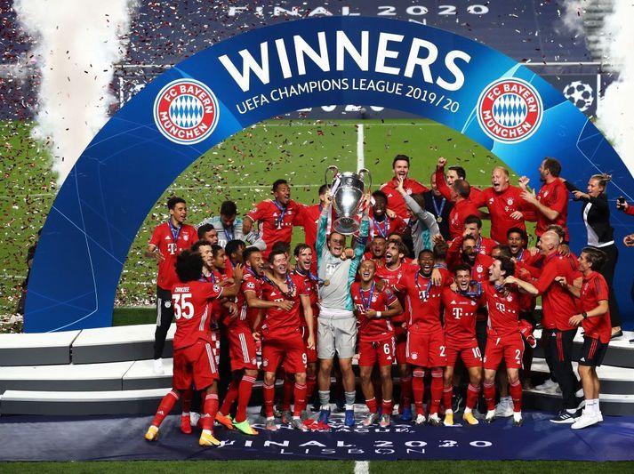 Bayern München fagna Meistaradeildartitlinum í ágúst síðastliðinn eftir sigur á PSG í Lissabon.