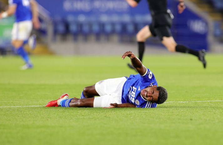 Wesley Fofana var sárþjáður eftir tæklingu Ninos í æfingaleik Leicester City og Villarreal.