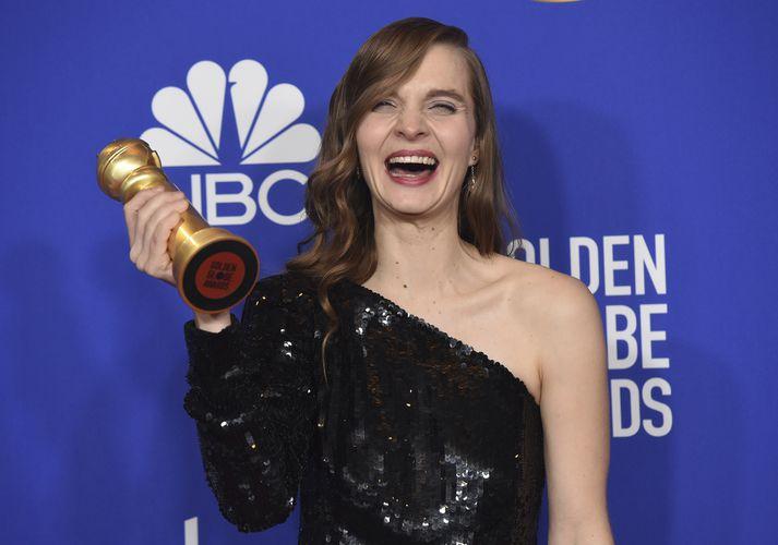 Hildur Guðnadóttir þegar hún vann Golden Globe verðlaunin á dögunum.