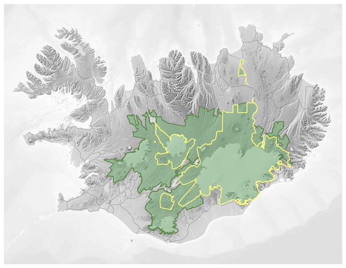 Hér má sjá stærð hálendisþjóðgarðsins miðað við frumvarpið en þegar friðlýst svæði eru gullituð. Þjóðgarðurinn næði yfir 30% landsins.
