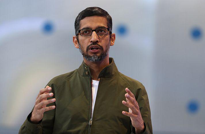 Sundar Pichai, forstjóri Google, kynnti Duplex-viðbótina í gær.