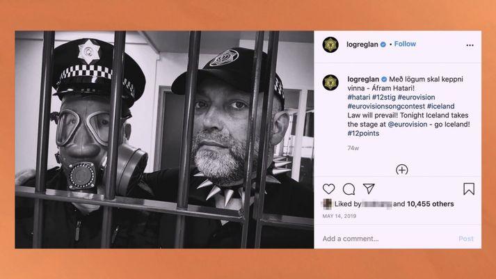 Lögreglan grínaðist á Instagram í kringum þátttöku Hatara í Eurovision.