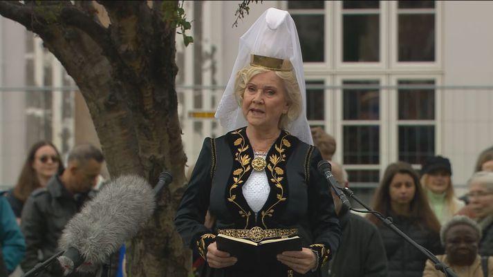 Fjallkonan flutti ávarp á hátíðarhöldunum.