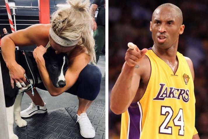 Sara Sigmundsdóttir með Mola sínum en til hægri er Kobe Bryant.