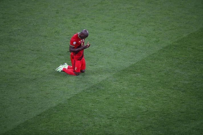 Romelu Lukaku skoraði tvö mörk í 3-0 sigri Belgíu í gær.