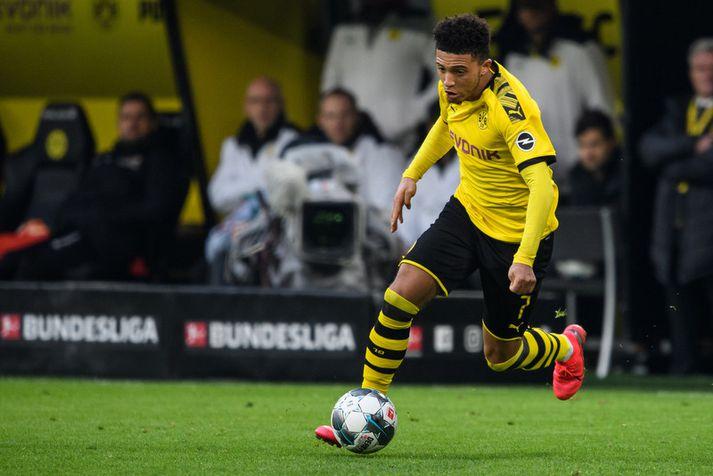 Jadon Sancho á fleygiferð í leik með Borussia Dortmund.