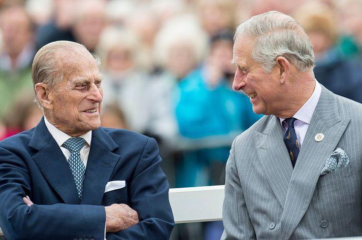 Filippus prins og Karl sonur hans. Filippus féll frá í gærmorgun, 99 ára gamall.