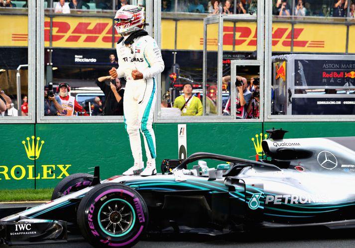 Lewis Hamilton eftir lokahringinn.