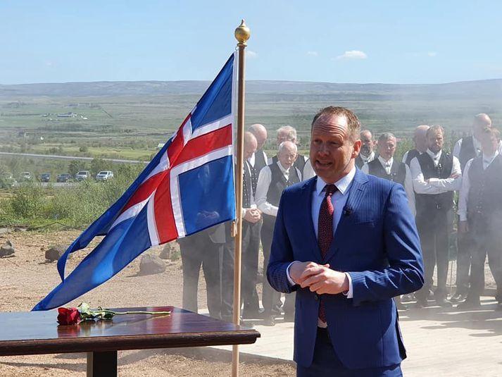 Guðmundur Ingi Guðbrandsson umhverfis- og auðlindaráðherra við athöfnina í dag.