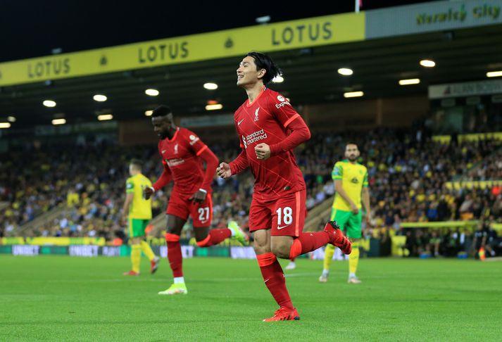Takumi Minamino skoraði tvívegis fyrir Liverpool í kvöld.