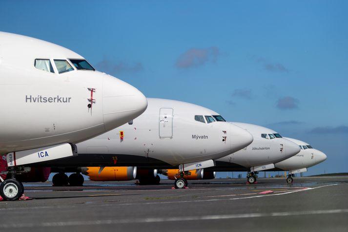 Flugvélarnar Hvítserkur, Mývatn, Jökulsárlón og Látrabjarg. Þær eru allar af gerðinni Boeing 737 MAX.
