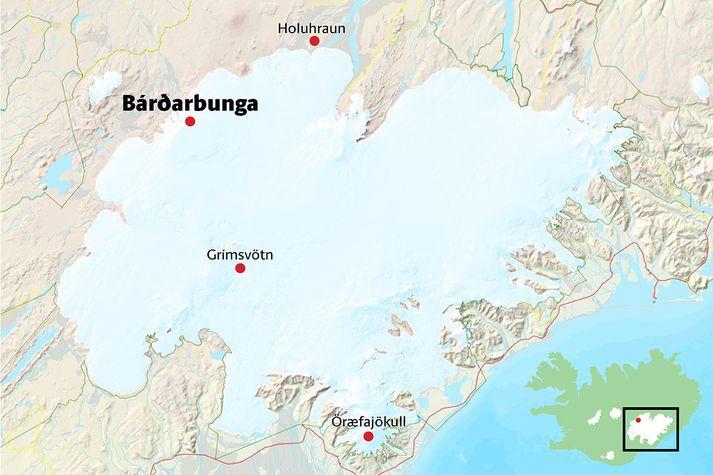Bárðarbunga er hæsti punkturinn á norðvesturhluta Vatnajökuls.