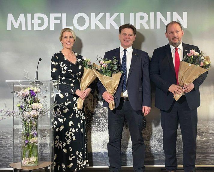 Ný stjórnarmeðlimir Miðflokksins, þau Hallfríður G. Hólmgrímsdóttir, Karl Gauti Hjaltason og Bergþór Ólason.