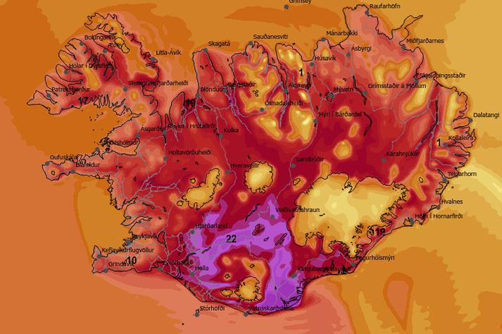Hitakort Veðurstofu Íslands fyrir daginn í dag. Fjólublái liturinn gefur til kynna 20 stig og yfir.