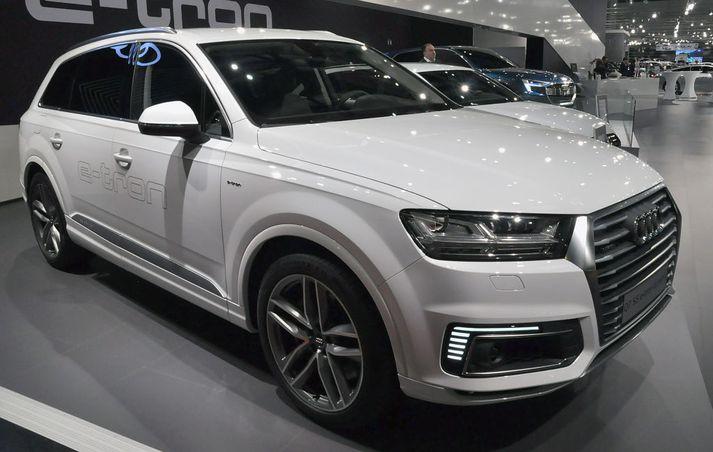 Audi Q7 e-tron, ekki ósvipaður þeim sem forstjóri Landsvirkjunar ekur.