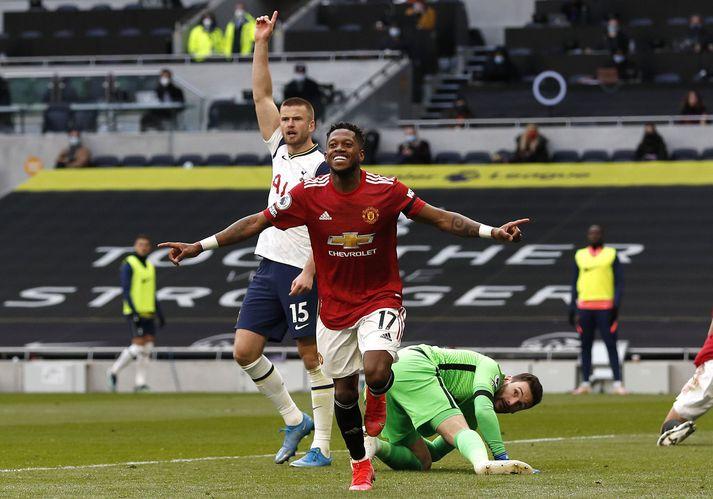 Fred skoraði langþráð mark fyrir Manchester United í gær.