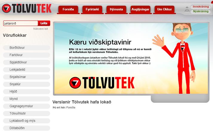 Þessi skilaboð taka á móti viðskiptavinum Tölvuteks á heimasíðu fyrirtækisins.