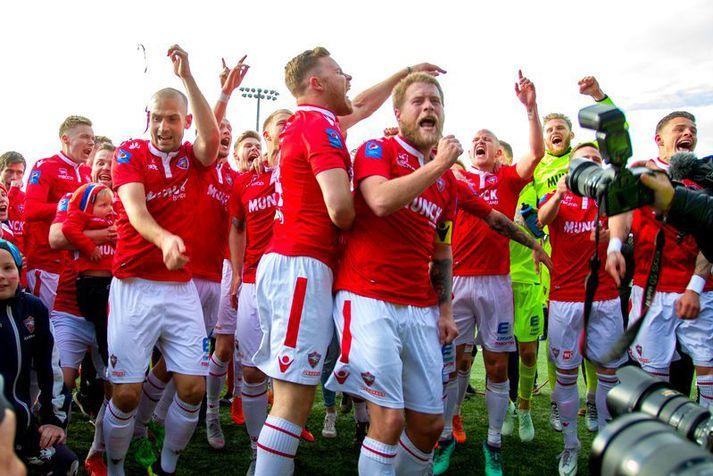 Valsmenn eru síðasta liðið til að vinna Íslandsmeistaratitilinn í lokaumferðinni en hér fagna Valsarar sigri sínum árið 2018.