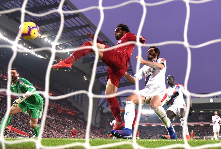 Mohamed Salah skorar fyrir Liverpool en nú mega hann og aðrir leikmenn í ensku úrvalsdeildinni fara að mæta aftur á æfingar.