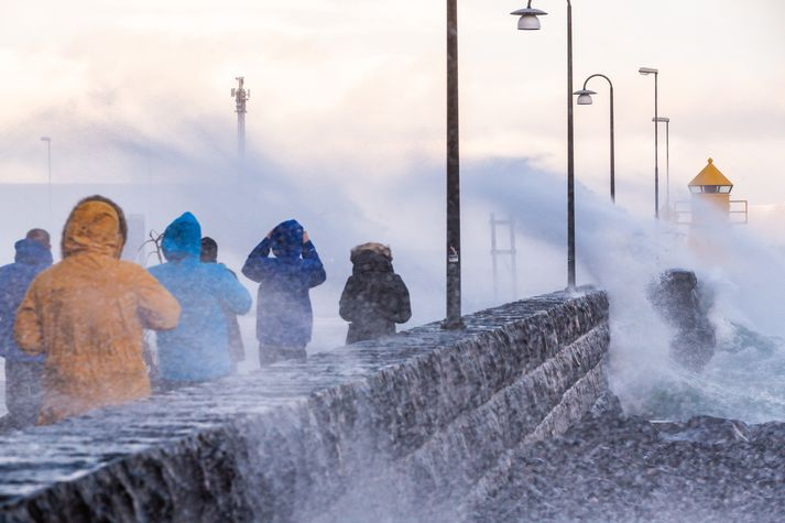 Ferðamenn nutu óveðursins í Reykjavík í dag.