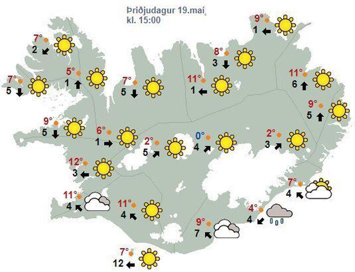 Væntanlega verður hlýjast á Vesturlandi í dag, um 13-14 stig þar sem best lætur.