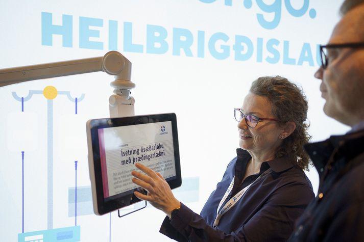Frá bás Origo á Læknadögum sem haldnir eru í Hörpu í þessari viku.