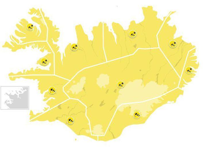 Gult, gult, gult um allt land.