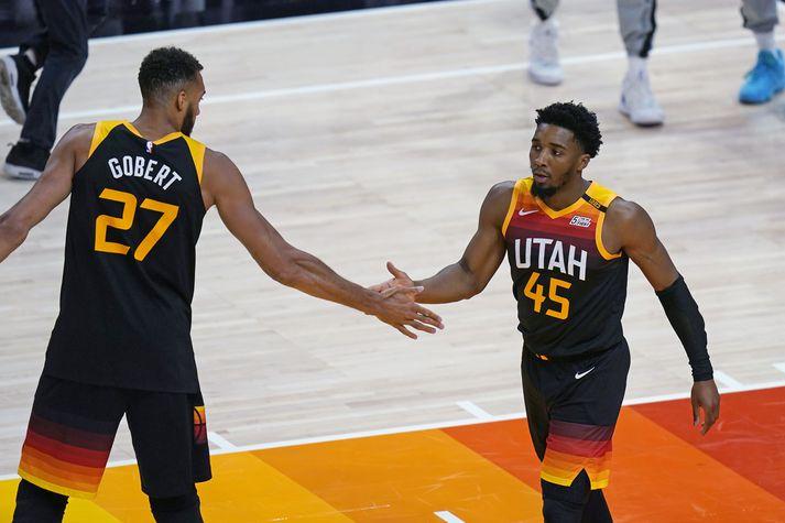 Rudy Gobert, Donovan Mitchell og félagar í Utah Jazz eru komnir áfram í undanúrslit Vesturdeildarinnar.