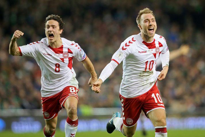 Eriksen og Thomas Delaney fagna í kvöld.