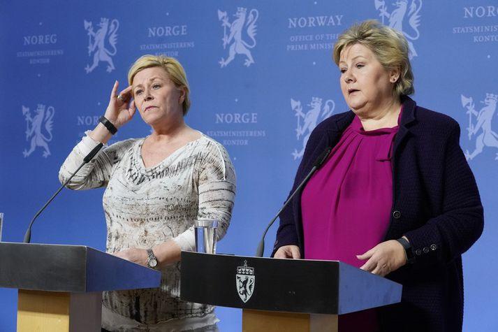 Siv Jensen, fjármálaráðherra og formaður Framfaraflokksins, og Erna Solberg, forsætisráðherra og formaður Hægriflokksins.