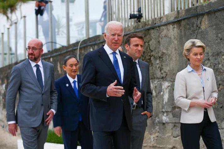 Leiðtogar G7 ríkjanna samþykktu fyrr í dag að fara í uppbyggingu innviða í þróunarríkjum til að stemma stigu við vaxandi áhrif Kína.