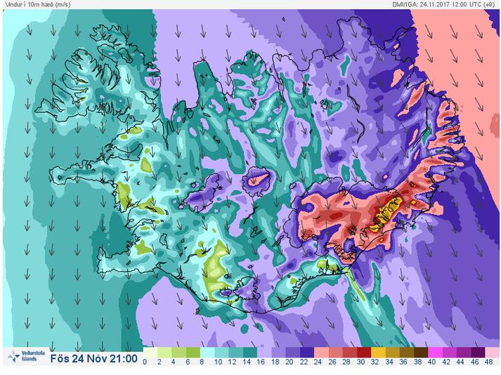 Vindaspá Veðurstofu Íslands klukkan 21 í kvöld.