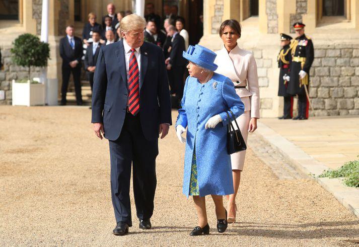 Forsetahjónin heimsóttu drottninguna í í júlí í fyrra.