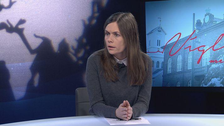 Katrín Jakobsdóttir var gestur Heimis Más Péturssonar í Víglínunni í dag.