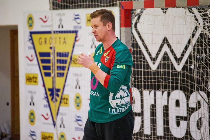 Hreiðar Levý Guðmundsson á ÓL-silfur í safninu.