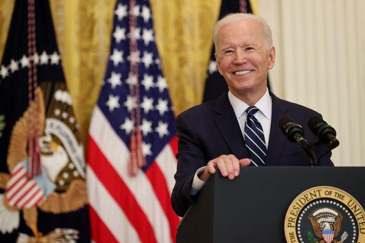 Joe Biden Bandaríkjaforseti á fyrsta blaðamannafundi sínum í Hvíta húsinu í dag.