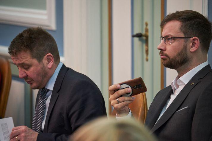 Björn Leví (t.h.) segist ekki telja árásirnar í Sýrlandi réttlætanlegar.