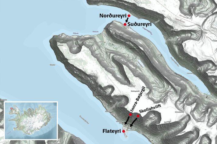 Á myndinni má sjá Flateyri, þar sem tvö flóð féllu. Þá féll flóð í Súgandafirði sem olli bylgju á Suðureyri.
