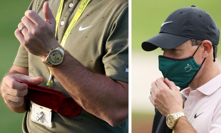 Rory McIlroy með nýja sérhannaða gullúrið á Augusta golfvellinum í aðdraganda Mastersmótsins í golfi.