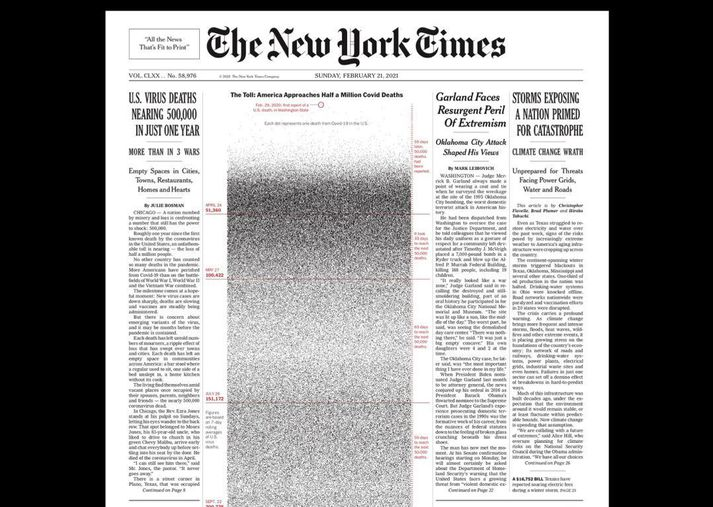 Á forsíðu New York Times í dag eru 500 þúsund punktar, einn fyrir hvert líf sem tapast hefur í faraldrinum í Bandaríkjunum.
