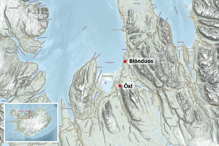 Öxi er suðvestur af Blönduósi.