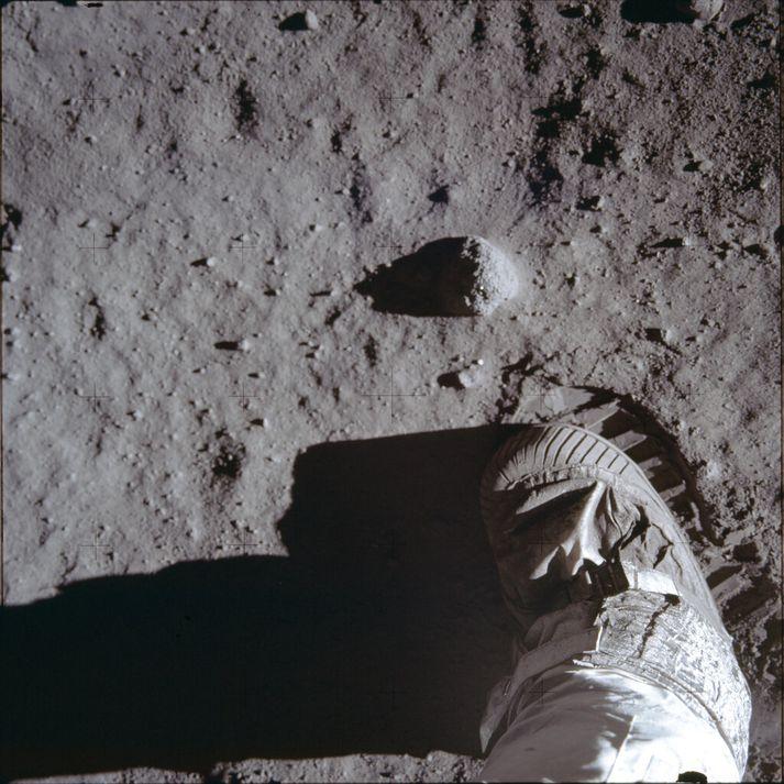 Fótur Buzz Aldrin á tunglinu árið 1969.