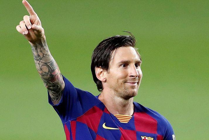 Messi fagnar marki í 2-0 sigri á Leganes fyrr á leiktíðinni.