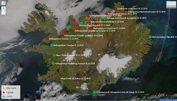 Norðlendingar glíma margir við rafmagnsleysi þessa stundina.