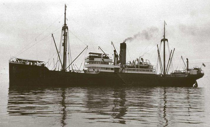 Áhöfn SS Minden sökkti skipinu í september 1939 til að forða því frá að lenda í höndum breska flotans. SS Porta, sem myndin sýnir, var systurskip Minden.